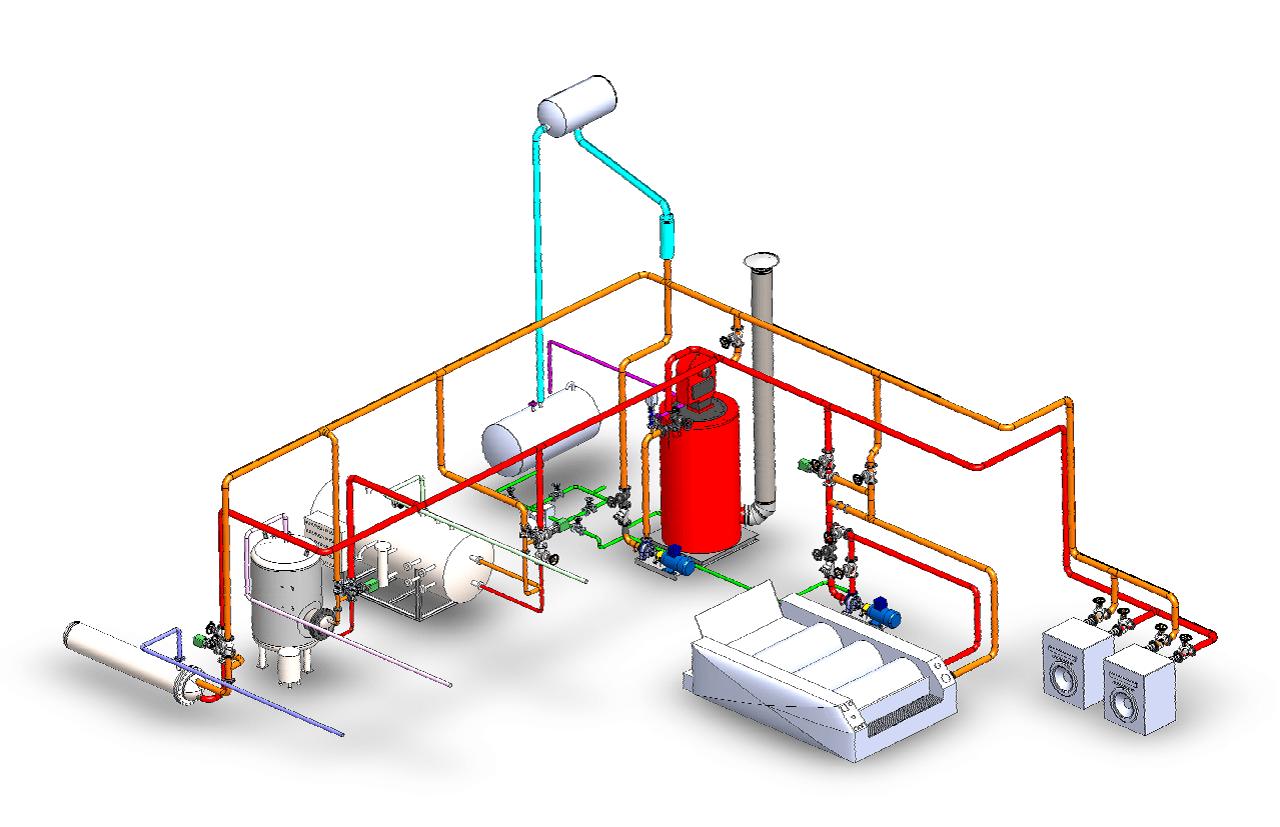 تاسیسات دیگ روغن داغ برای شستشوی صنعتی